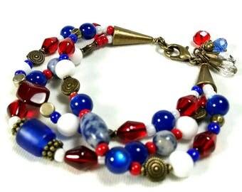 Patriotic Bracelet, Red, White, Blue Bracelet, Fourth of July, Americana Bracelet, Three Strand Bracelet, Colorful Bracelet