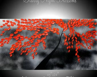 "Oil Landscape Original Oil  Abstract Modern palette knife impasto oil painting ""Starry Night  Blossoms"" by Nicolette Vaughan Horner"