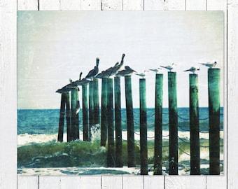 Beach Ocean Photography | Rustic Nautical Navy Blue Coastal Decor Beach Wall Art Prints | Large Wall Art | Pelicans Nautical Wall Decor Art