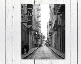 Puerto Rico Wall Art | Black and White Street Photography | Travel Photography | Urban Art Print | Fine Art Photography San Juan Puerto Rico