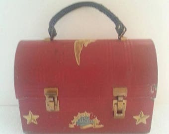On Sale Vintage Red Metal Lunch Box Stars USA Eagle Design 1970's Rockabilly Industrial