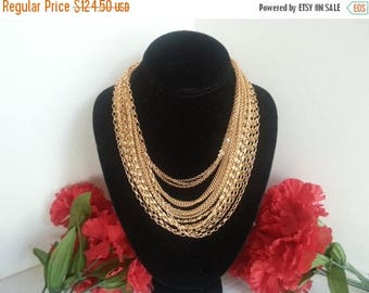 Now On Sale Trifari Statement Necklace * Vintage Runway Necklace * Designer Signed Jewelry * 15 Strands * 1960's 1970's