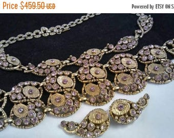 ON SALE Lavender Rhinestone Necklace Bracelet Earring Set - 1960's Unsigned Selro Demi Parure -  Rare High End Hard To Find Jewelry