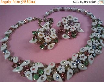 ON SALE Vintage Pastel Pink Yellow Green White Rhinestone Easter Necklace Earring Set, 1950's Collectible Jewelry