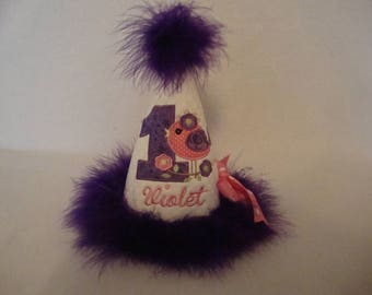 1st Girls Bird Birthday Hat Purple Pink Bird Any Age Personalized Party Smash Grannies Embroidery