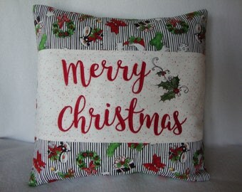 Merry Christmas Throw Pillow Cover 18 By 18 Size Holly Berries Throw Pillow Machine Embroidered  Grannies Embroidery