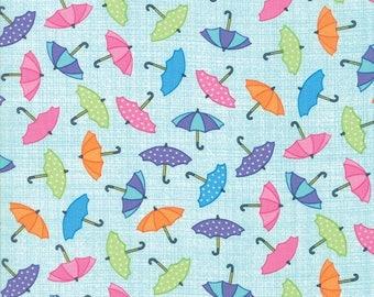 20 % off thru 7/4 RAINY DAY! multicolor umbrellas on aqua cotton print by the 1/2 yard Me and My Sister Moda fabric 22291-13