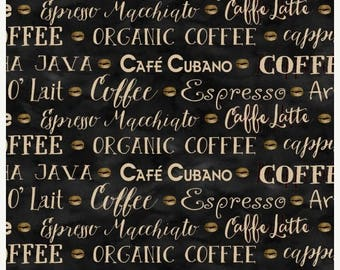 20 % off thru 7/4 COFFEE HOUSE Henry Glass  quilters cotton fabric by the half yard tan words on black types 9957-99
