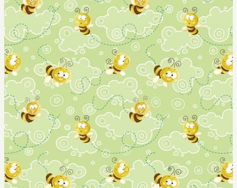 12% off thru July FROGLAND FRIENDS Henry Glass  quilters cotton fabric by the  yard tossed honey bees on green 1060-66