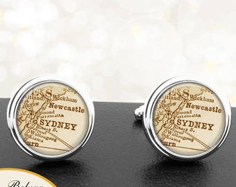 Map Cufflinks Sydney New South Wales Australia Cuff Links for Groomsmen Groom Fiance Anniversary Wedding Party Fathers Dads Men