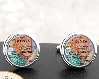 Map Cufflinks Nairobi Kenya Central Africa Cuff Links for Groomsmen Groom Fiance Anniversary Wedding Party Fathers Dads Men