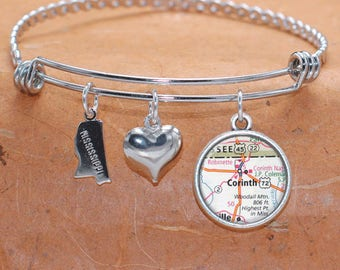 Corinth MS Map Charm Bracelet State of Mississippi Bangle Cuff Bracelet Vintage Map Jewelry Stainless Steel Bracelet Gifts For Her