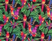 BRIGHT TROPICAL PARROTS fabric panel quilting cotton