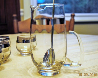 Libbey  Sliver Band Pitcher with Stir Spoon and 4 Small Glasses