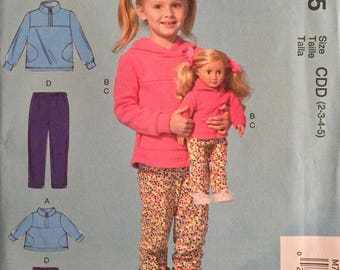 """McCall's M7275, Size 2-3-4-5, Children's/ 18"""" Dolls' Tops and Pants Pattern, UNCUT, Matching Outfits, Hooded Sweatshirt, Outerwear, Cool"""
