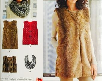 Simplicity D0527/8219,Size X Small, Small, Medium, Large, X Large, Misses' Lined Vest in Three Lengths and Scarf Pattern,UNCUT,2 Hour Sewing