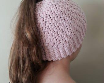 Cashmere Merino Wool Ponytail Hat Womens Ponytail Hat Pink Messy Bun Hats Pony Tail Hats Soft Pink Crochet Hats Messy Bun Hats Free Shipping