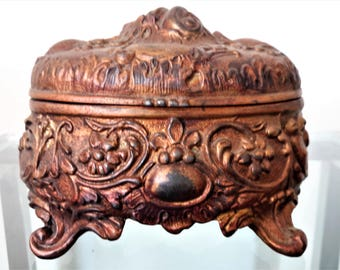 Antique Jewelry Casket Art Nouveau Cinnamon Bronze Coloring / Footed Dresser Vanity Early 1900's Small Sized Casket