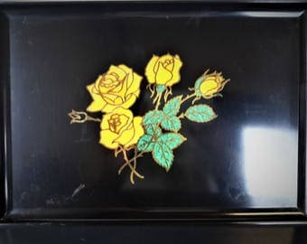Vintage Couroc Of Monterey Yellow Roses With Stems and Leaves Hand Inlaid By Master Craftsman Satin Black Impervious To Alcohol