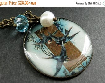 SUMMER SALE Blue Bird Necklace. Bluebird Pendant Necklace with Fresh Water Pearl and Aqua Crystal. Handmade Jewelry.
