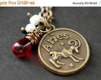 EASTER SALE Aries Astrology Necklace. Zodiac Necklace with Glass Teardrop and Fresh Water Pearl. Aries Horoscope Necklace. Handmade Jewelry.