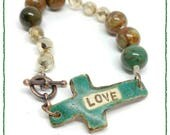 Love Cross Bracelet - Essential oils - oil bracelet - ceramic - copper - toggle clasp -gift under 50 - gift for her - Christian jewelry