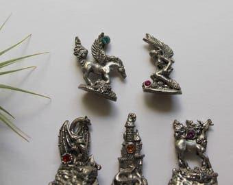 Vintage Miniature Pewter Medieval and Mythical Figurines - Dragon - Unicorn - Castle - Fairy - Pegasus 1980s