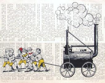 POWER TRAIN art print art poster art diktionary wall decor childern romm  art