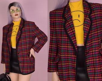 80s Colorful Houndstooth Blazer/ Large/ 1980s/ Jacket