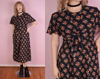 90s Floral Print Dress/ US 10/ 1990s