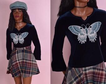90s Blue Velvet Glitter Butterfly Top/ X-Small/ 1990s