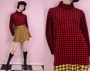 90s Red and Black Gingham Velour Turtleneck Shirt/ Medium/ 1990s