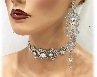 Wedding Choker Jewelry Set, Bridal Gold Plated Zircon Crystal Jewelry Set, Bridesmaids Earring Bracelet, Old Hollywood Fashion Jewelry