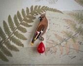 Cedar waxwing brooch