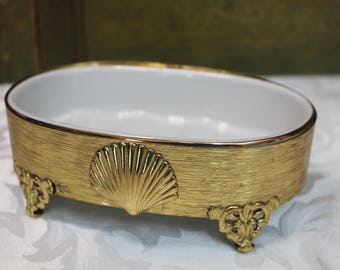 Vintage Soap Dish with a Brass Band stand
