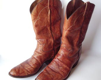 Vintage Well-Worn Tony Lama Leather Cowboy Boots, Men's Size 13B, Shabby Chic