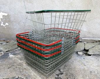 7 x Vintage Metal Shop Baskets - Red & Green - Price per Basket