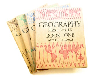 Collection of 4 x Vintage Geography School Reference Books