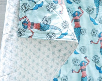 Mermaid Quilt, Organic Quilt, Organic Crib Quilt, Toddler Quilt, Baby Quilt, Crib Blanket, Modern Mermaid and Compass Star Quilt