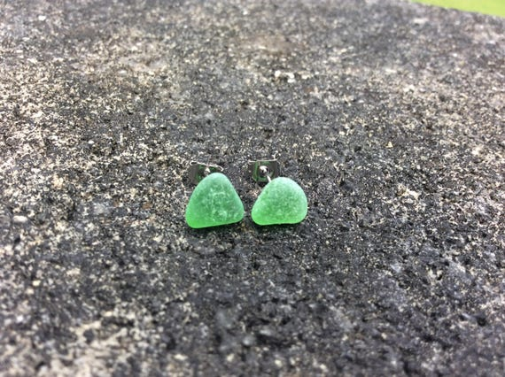 Green Surf Tumbled Sea Glass Stud Earrings