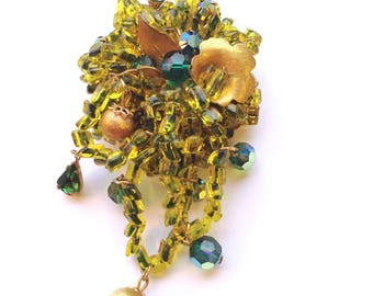 Signed Eugene Green Brooch Hand Wired Miriam Haskell Style Beaded & Rhinestone Brooch Green Dangling Designer Collectible Fashion Jewelry