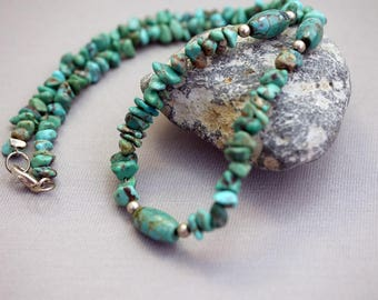 Vintage Turquoise and Sterling Southwest Necklace 16 Inches Long Turquoise Nuggets