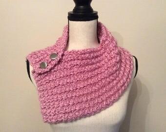 Handmade pink neck warmer, pink scarf, pink crochet neck warmer, pink scarft with silver buttons