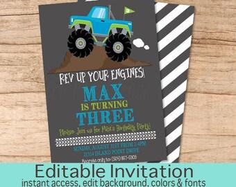Monster Truck Birthday Invitation, Boys Birthday invitation, Monster Truck Invitation, Editable Birthday Invitation, Instant Download