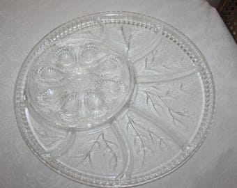 Vintage Indiana Glass Large Round Relish Glass Divided Serving Platter Clear Color