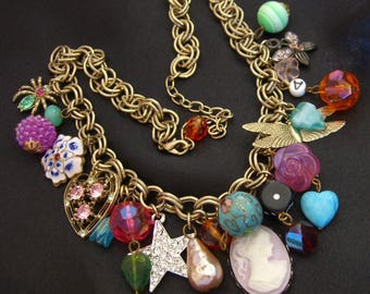 Vintage Charm Necklace Cloisonne Beads, Resin Cameo, Art Glass beads, Rhinestone Star