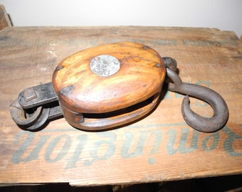 Vintage Single Block and Tackle Pulley.  B & L Boston Pulley. Nautical Industrial Decor Rustic Primitive Decor