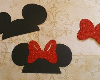 DIY Minnie Mouse Black Ears Cardstock Red Glitter Bows for Crafts Photo Booth Birthday Party Weddings Props DIY
