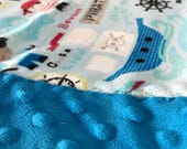 Travel Pillowcase - Pirate Print Minky with Dark Turquoise Dimple Dot Minky Border - great for a Toddler or Travel Pillow