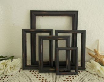 Black Picture Frame Set Rustic Shabby Chic Distressed Upcycled Vintage Wood Collection French Country Farmhouse Western Man Cave Home Decor